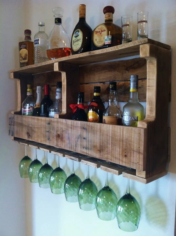 Rustic Wine Rack Extra Wide Liquor Rack By GreatLakesReclaimed