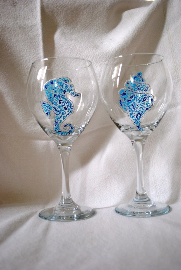 Beach Theme Hand Painted Wine Glasses
