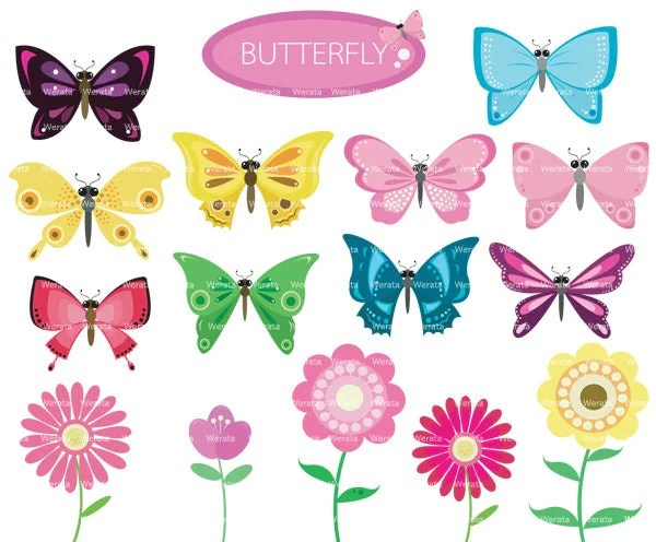 butterfly and flower clip art