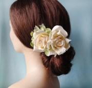 cream rose hair clip bridal
