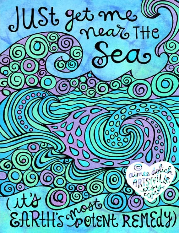 Just Get Me Near the Sea (jumbo doodle magnet) by artsyville