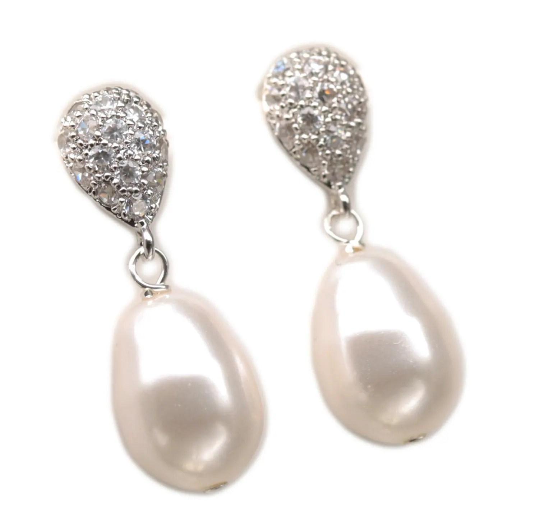 Teardrop Stud Earrings Pearl Dangle Earrings Drop Pearl Post