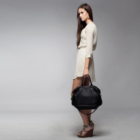 Soft Leather bag - Opelle Vanda bag in Black pebbled leather NEW ss2013