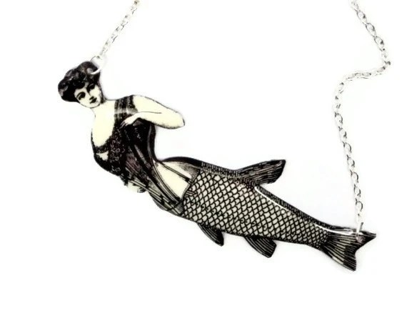 Corset Mermaid Necklace Victorian Black and White Illustration