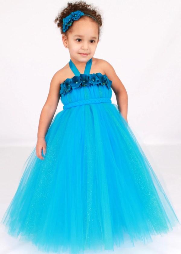 Flower Girl Tutu Dress Turquoise Topaz Cutiepatootiedesignz