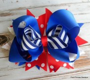 red white blue hair bow girls
