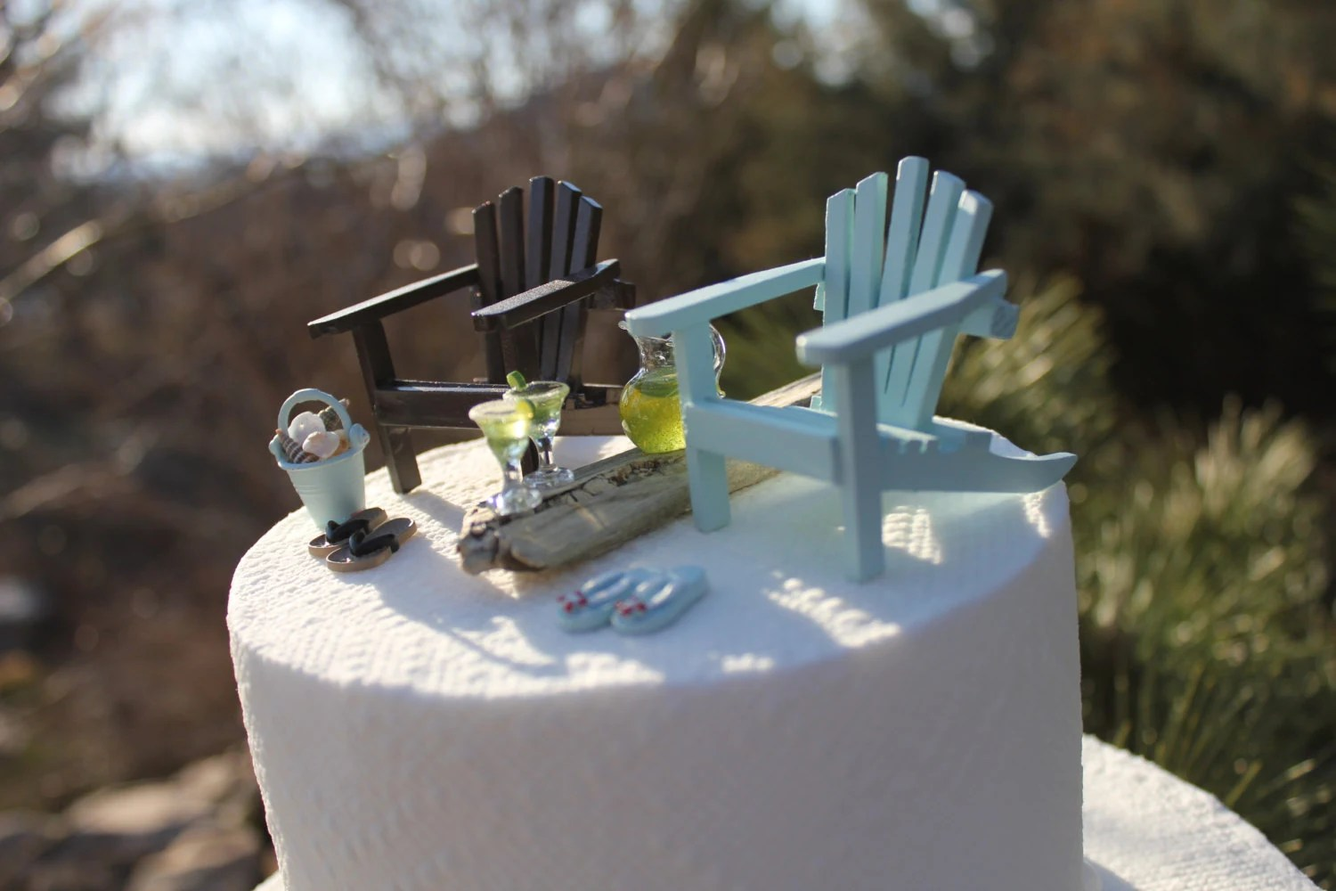 adirondack chair cake topper back support office beach theme wedding classic chairs
