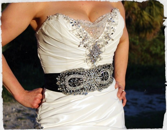 Bridal Beaded Sash Black Embellished Bridal Belt By
