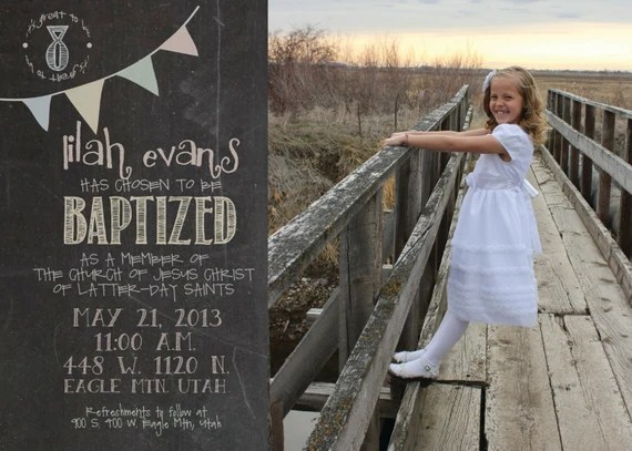 5x7 colorful chalkboard LDS Baptism Inivitation / Announcement with Banner detail