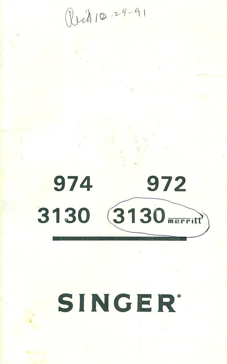 SINGER MERRITT 3130 Zigzag Sewing Machine MANUAL Instruction