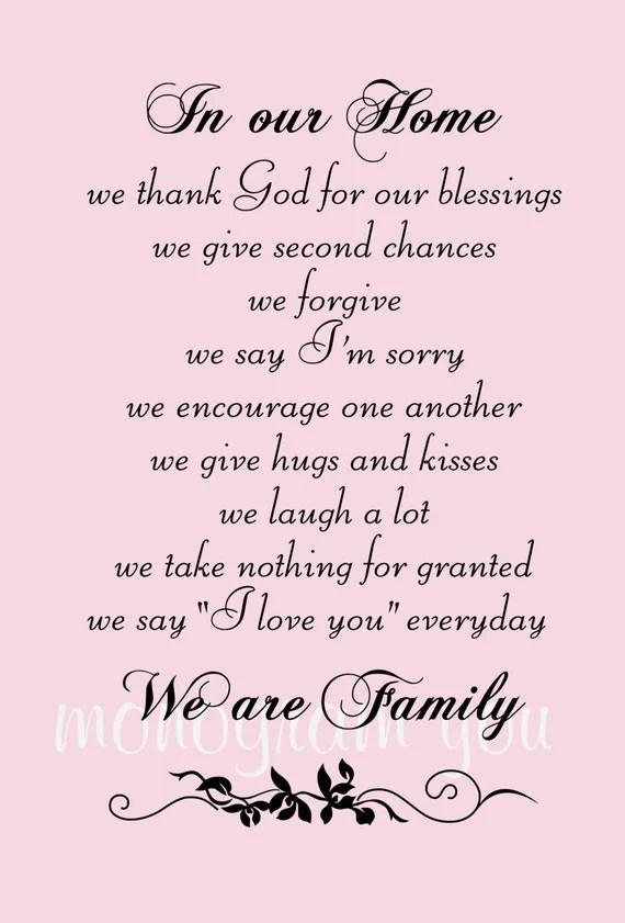 Family Wall Decal Quote 'In Our Home We Thank God For Our