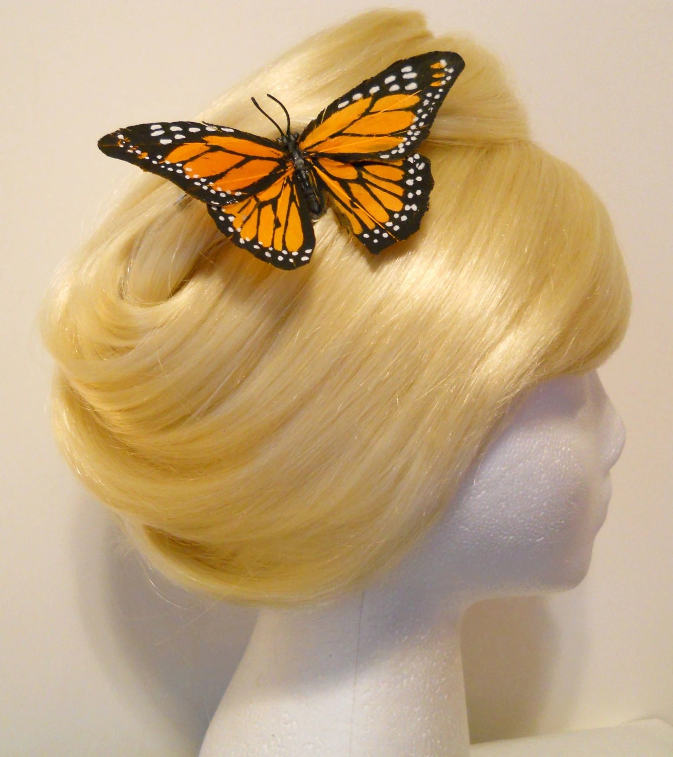 Large Monarch Butterfly Hair Clip Feather Dark Yellow To