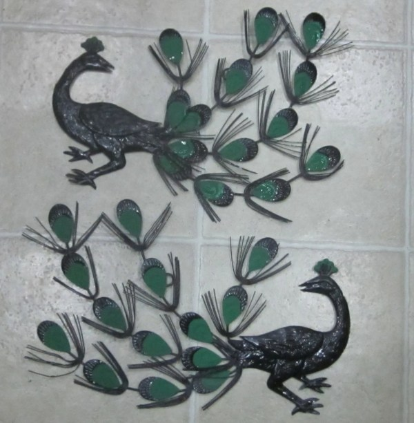 Peacocks Metal Wall Hanging Sculpture Retro Art