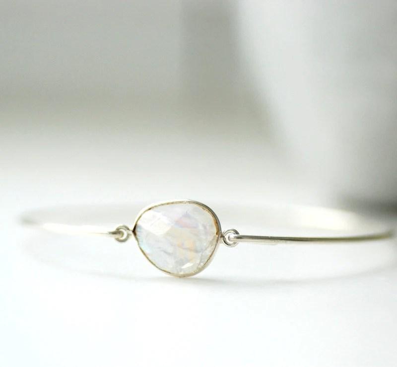 Gemstone Bracelet, Moonstone Bracelet, Bangle Bracelet, Stacking Bracelet, Moonstone Bangle, White Wedding, Wedding Jewelry - WildWomanJewelry