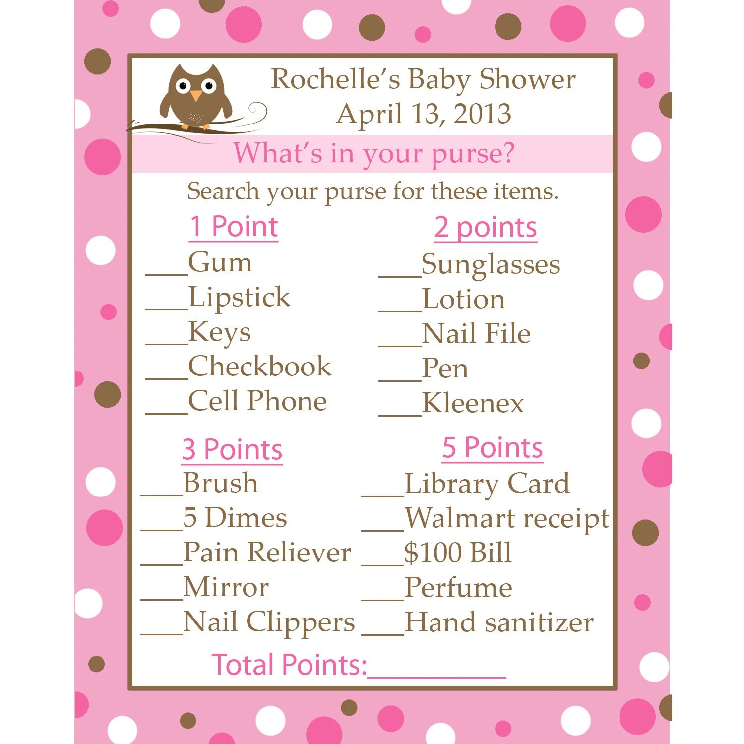 24 Personalized Baby Shower Game Cards What S In Your