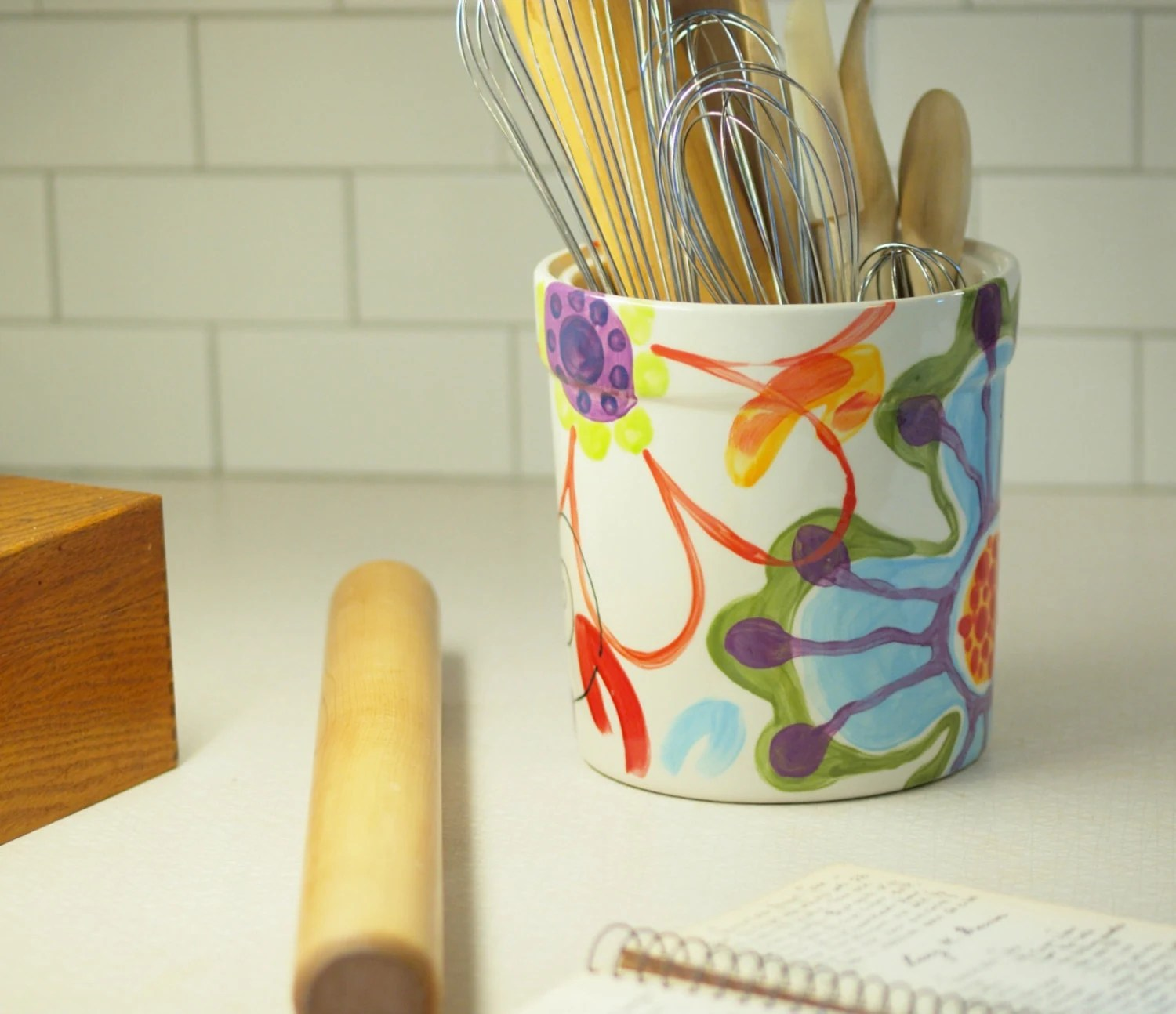 Utensil Holder Kitchen Utensil Holder Ceramic by romyandclare