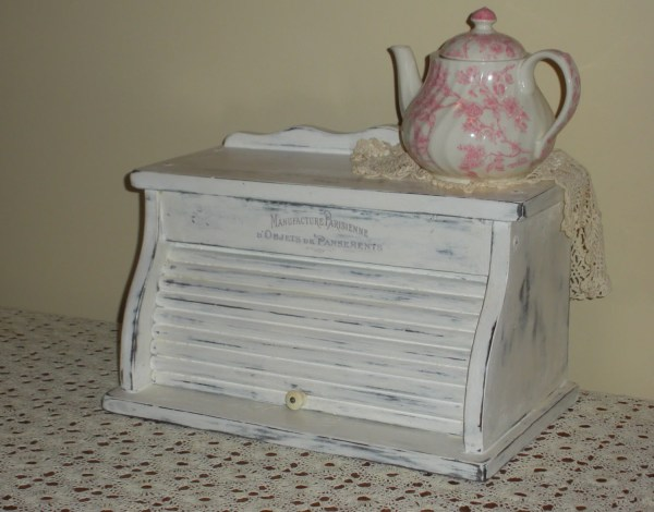 Vintage Wooden Bread Box White Shabby Chic Distressed