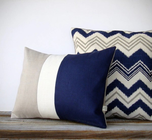 Navy Blue and Gray Pillows