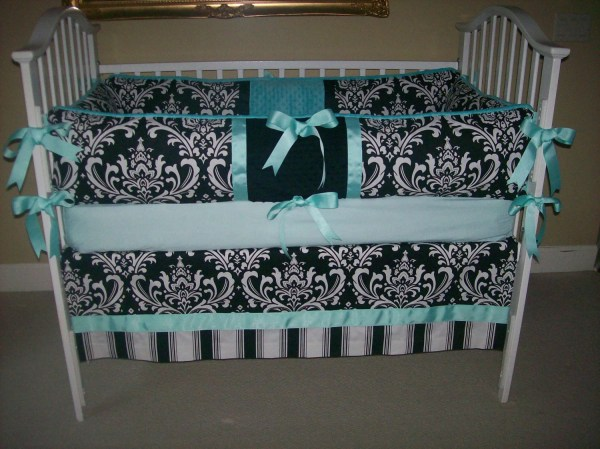 Black Damask And Aqua 4 Piece Baby Bedding Set