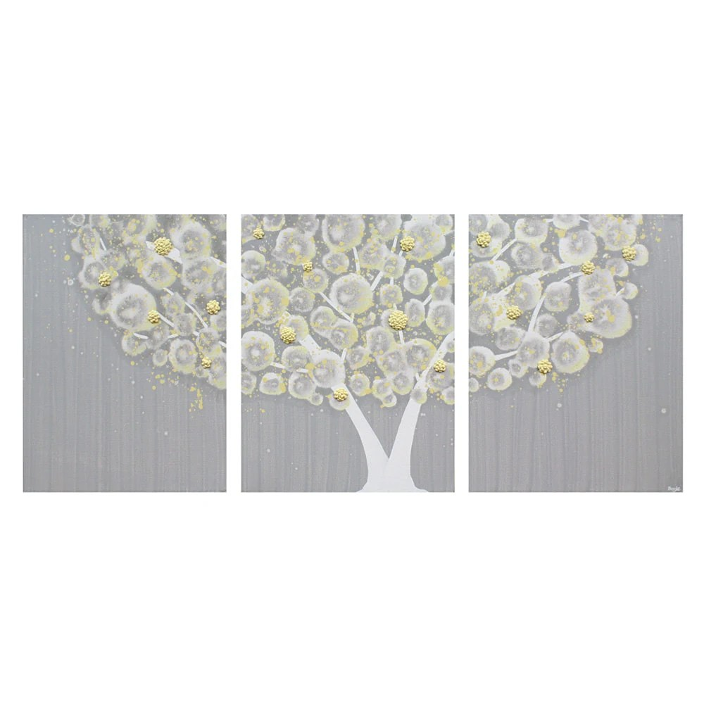 Gray and Yellow Wall Art Textured Tree Painting on by Amborela