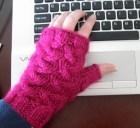 Pink Glitter Fingerless Office Mittens