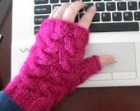 Pink Glitter Fingerless Office Mittens