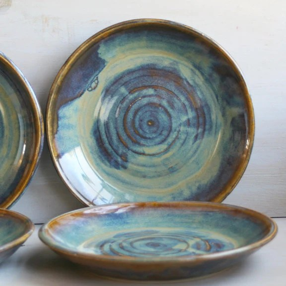 Ceramic Dinnerware Dishes Rustic Water Color Glaze by ...