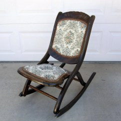 Old Fold Up Rocking Chair Folding Lyrics Antique Mahogany With Floral Patterned
