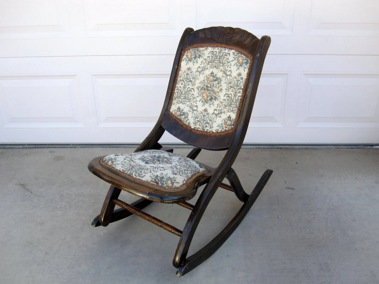 antique folding rocking chair value interactive health massage mahogany with floral patterned