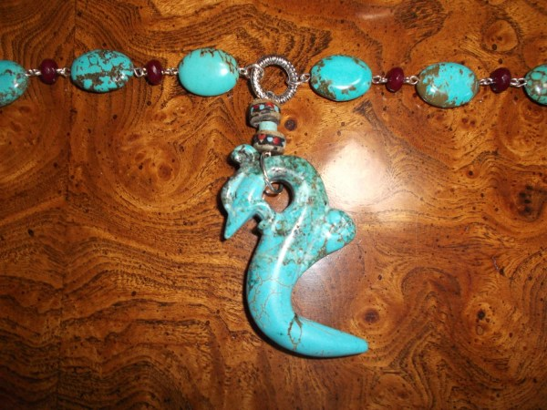 Carved Turquoise Dragon Necklace