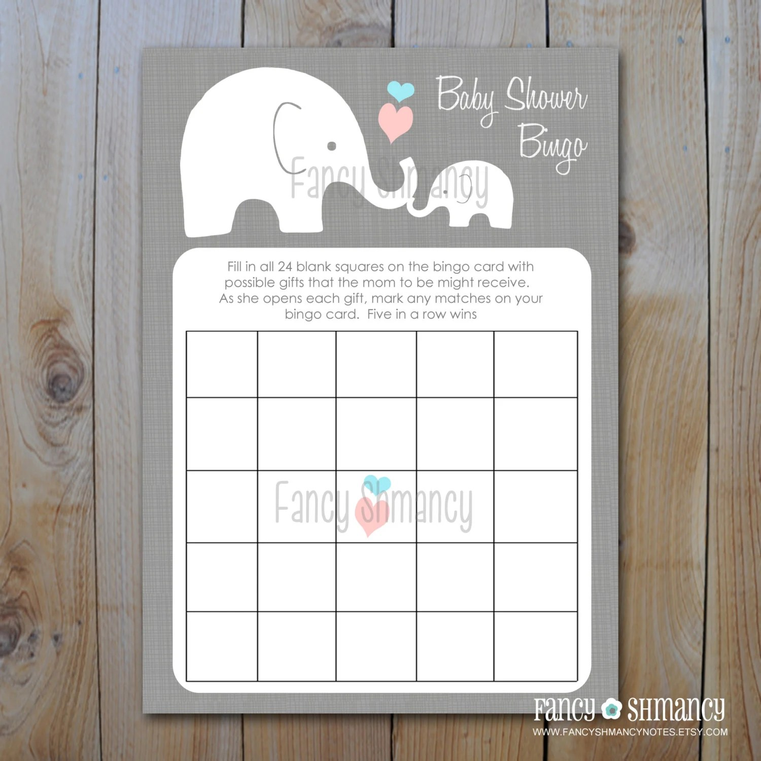 Elephant Baby Shower Bingo Game Cards By Fancyshmancynotes