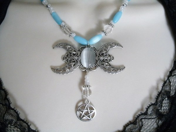 Triple Moon Goddess Necklace With Pentacle Wiccan Jewelry