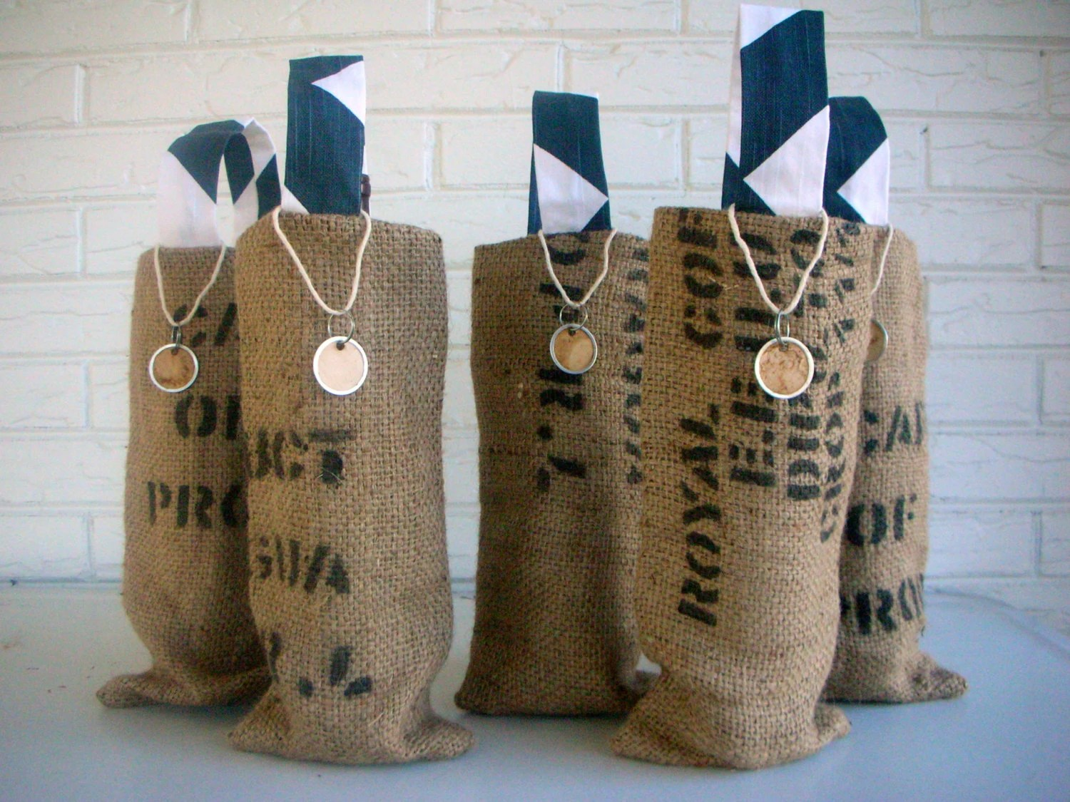 Burlap Wine Bag Wedding Favors Bridal Shower By