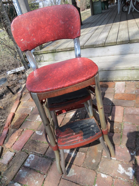 retro chair step stool x back cushion vintage cosco