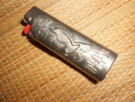 BIC Lighter Sleeve Eagle Embossed Metal BIC Cigarette Lighter