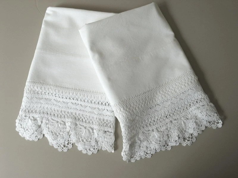 Pair Victorian Pillow Cases with Wide Crochet Lace Trim