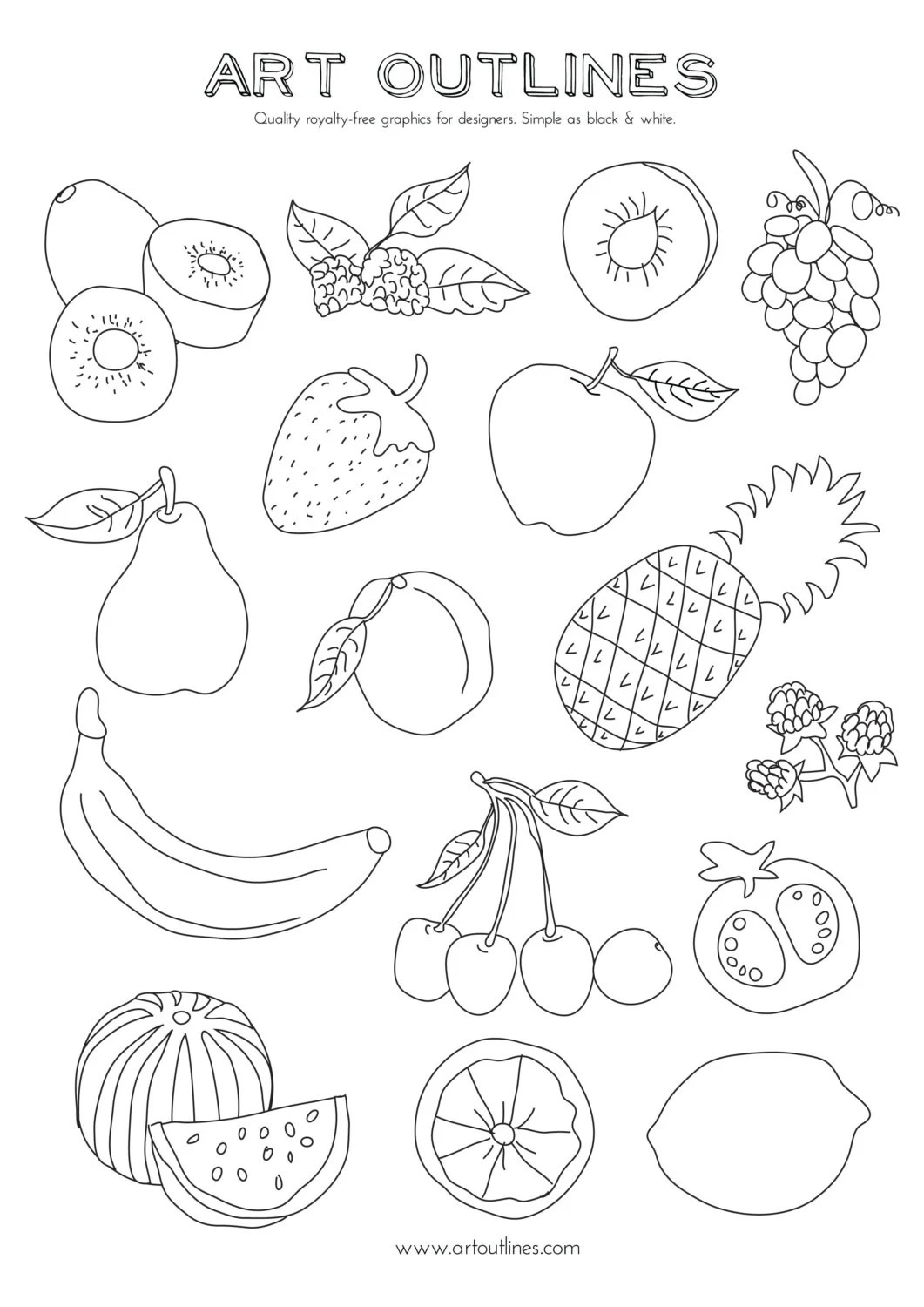 Set Of Fruits Art Outlines Full Page 16 Original Hand Drawn