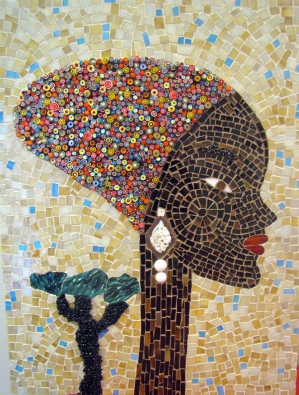 African Woman Mosaic Art