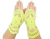 Crochet fingerless gloves- Green gloves- Fingerless gloves- Handmade crochet gloves mittens- Floral gloves - aynikki