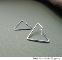 Triangle Earring for Men Unisex Sterling Silver Ear