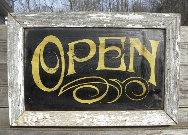 Open Sign Hand Painted Faux Vintage Wooden