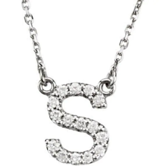 Upper Case Block Diamond Letter Initial Necklace by JPoliseno