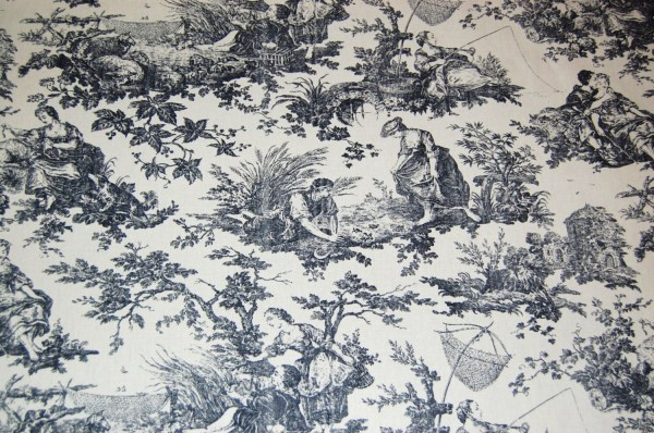 Laura Ashley Black And Antique White Toile Fabric Vintage