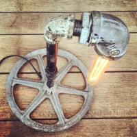 Industrial Lamp Pipe and Pulley table light