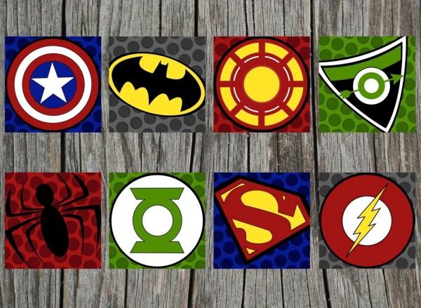 4 Printed Superhero Logo Art Prints And Sissyandrubes