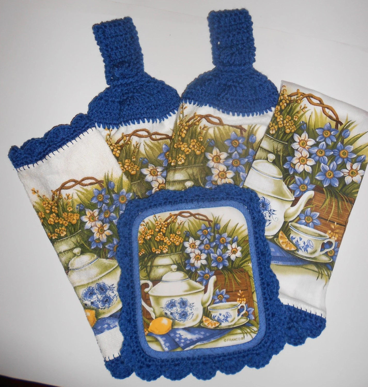 terry kitchen towels knobs for cabinets towel set crochet trim hanging pot holder