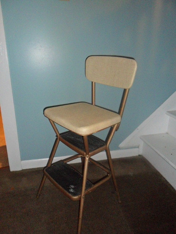 vintage cosco step stool chair space saver high walmart beige kitchen with flip up seat