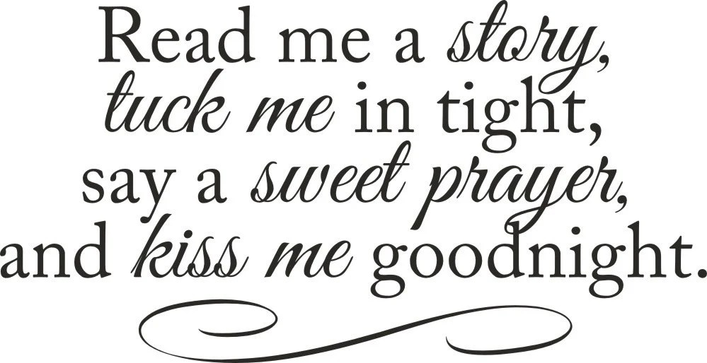 Read me a story tuck me in tight vinyl wall decal quote