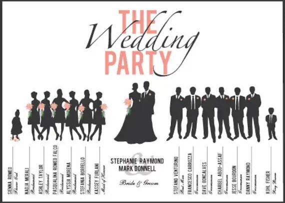 Items similar to Custom, Printable Wedding Party Program