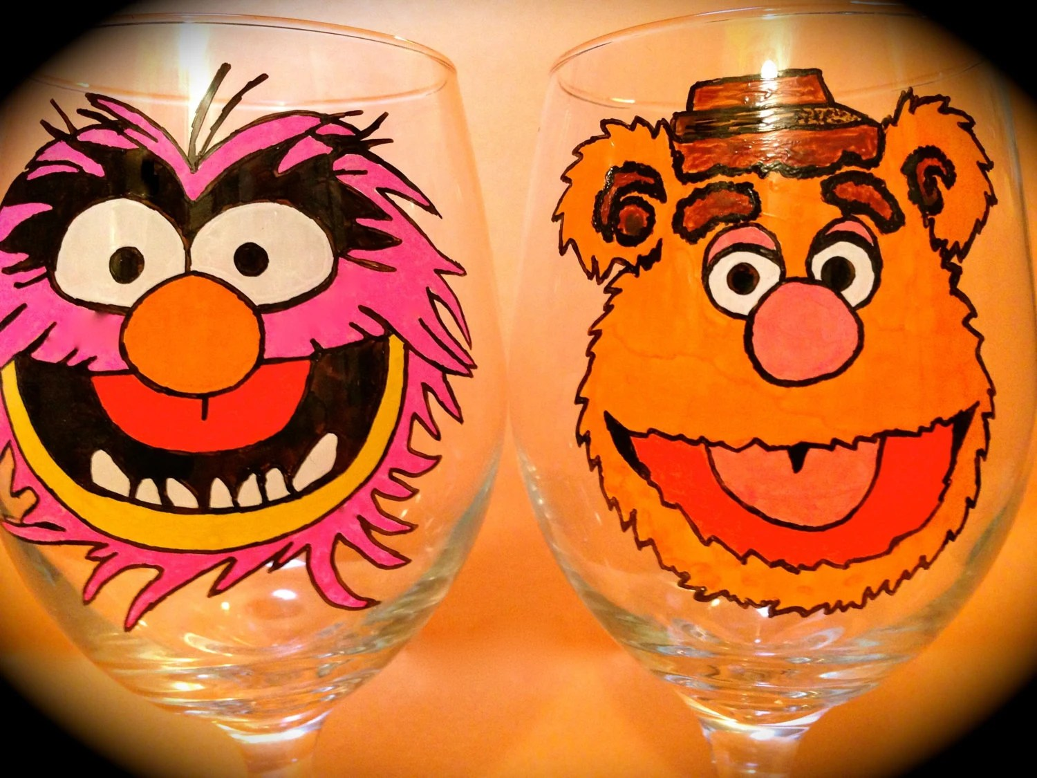 Muppets Animal and Fozzie Bear Wine Glasses - hand painted - set of 2
